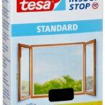 tesa Fliegengitter für Fenster, Standard Qualität, anthrazit, durchsichtig, 1,3m x 1,5m